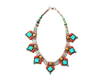 Nepali & Tibetan Nacklace, Tibetan Jewellery, Inlaid Coral And Turquoise, Pendants Nacklace, White Metal Necklace, Hand Made In Nepal