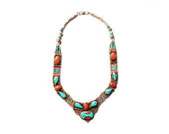 Nepali & Tibetan Nacklace, Tibetan Jewellery, Inlaid Coral And Turquoise , Pendants Nacklace, White Metal Necklace, Hand Made In Nepal