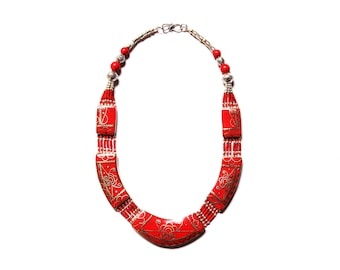 Nepali & Tibetan Nacklace, Tibetan Jewellery, Nepali Jewellery, Inlaid Lapis Coral And Turquoise, White Metal Necklace, Hand Made In Nepal