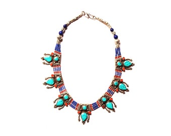 Nepali & Tibetan Nacklace, Tibetan Jewellery, Inlaid Coral Turquoise And Lapis, Pendants Nacklace, White Metal Necklace, Hand Made In Nepal