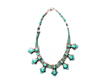 Nepali & Tibetan Nacklace, Tibetan Jewellery, Inlaid Lapis And Turquoise, Pendant Nacklace, White Metal Necklace, Hand Made In Nepal