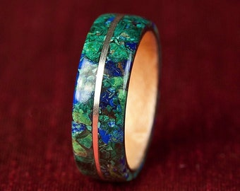 Recycled Materials Bent Wooden Rings Valentines gift Engagement ring Hand crafted Jewelry Eco Friendly Azurite Blue Cross Hatch Ring