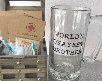 World's Okayest Brother glass mug