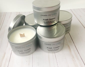 8oz Fresh Linens - Soy Woodwick Candle