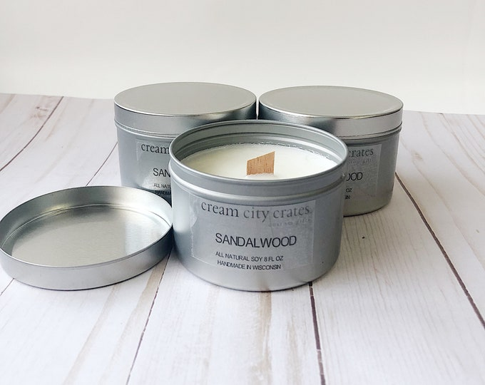 8oz Sandlewood - Soy Woodwick Candle