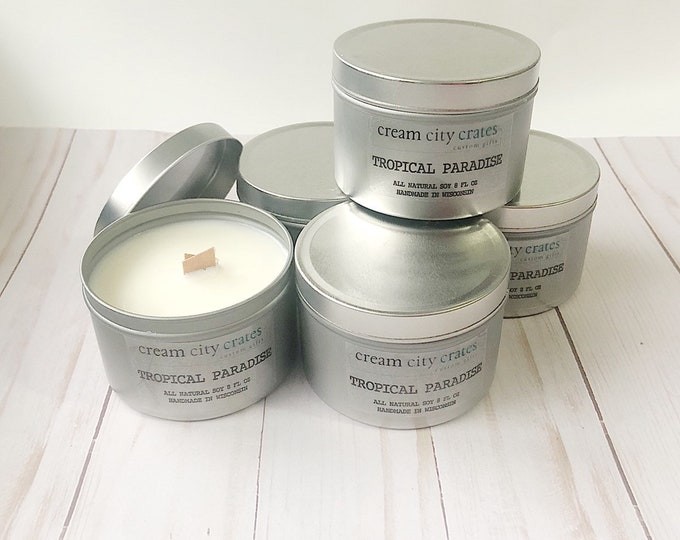8oz Tropical Paradise - Soy Woodwick Candle