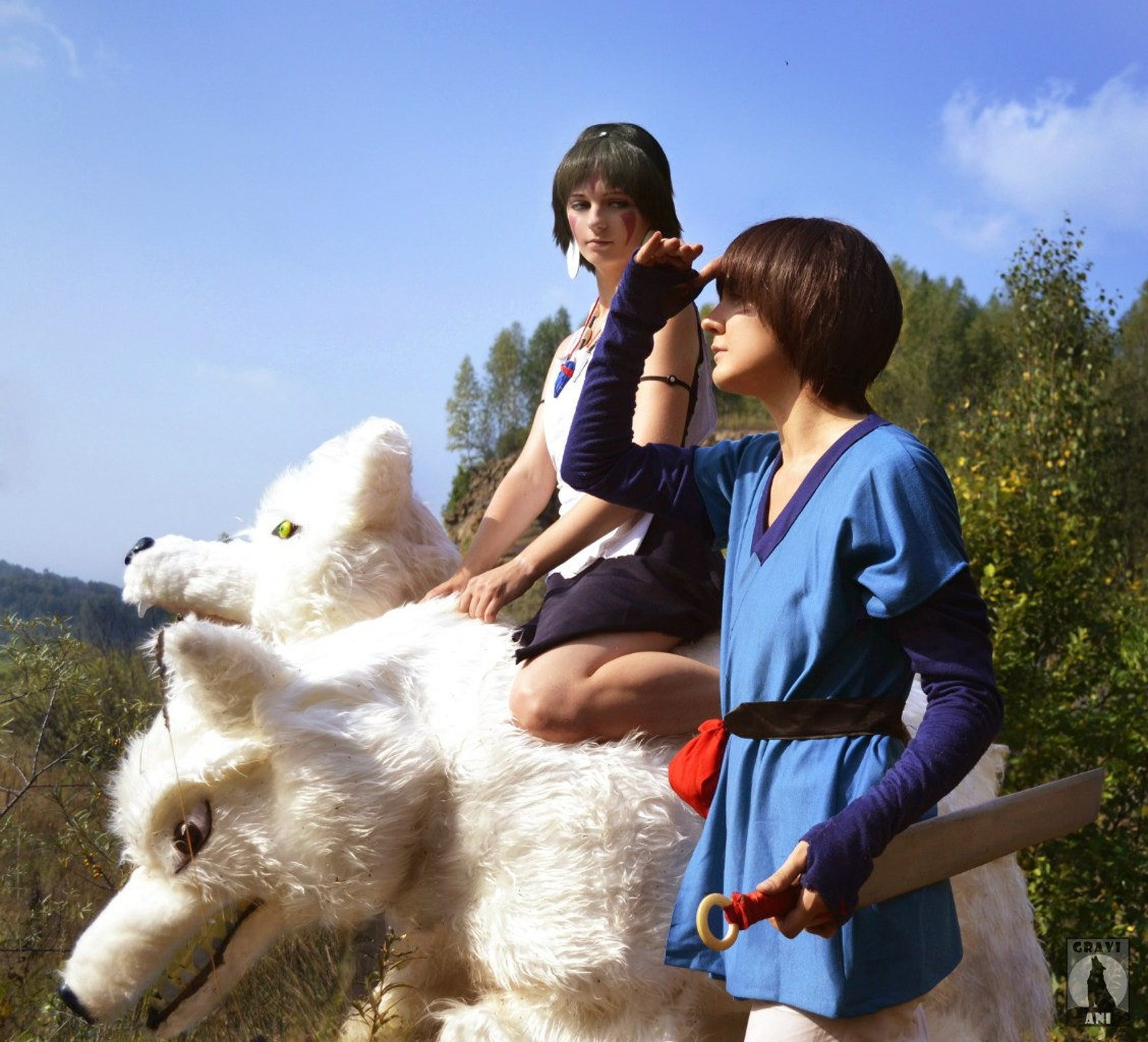 Princess Mononoke and Ashitaka Cosplay Costume Anime Halloween Adult