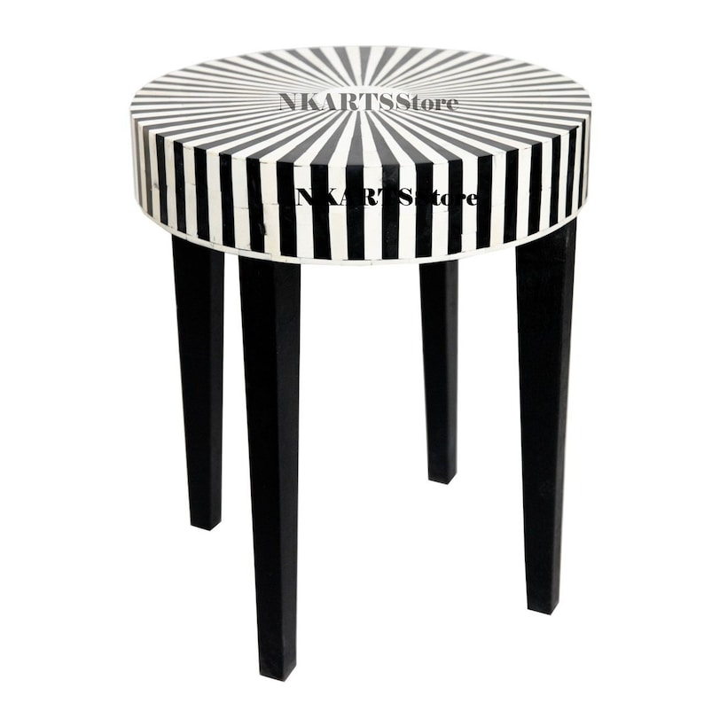 Miraculous Bone Inlay Black White Stripe Design Stool In Black Color With Free Shipping Short Links Chair Design For Home Short Linksinfo
