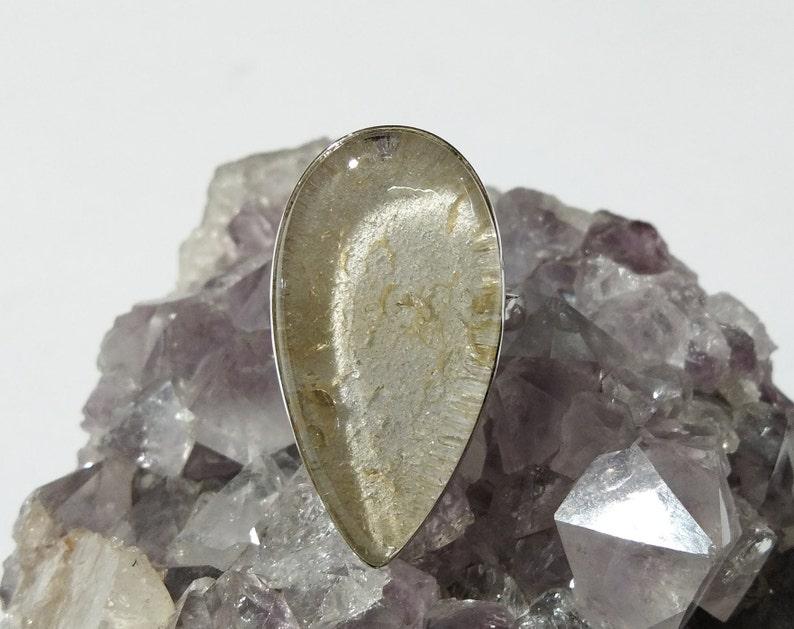925 Sterling Silver With Natural Gemstone Jewellery Lodolite Ring Garden Quartz Ring Wedding Gift Etc. Ring For Girls /& Women