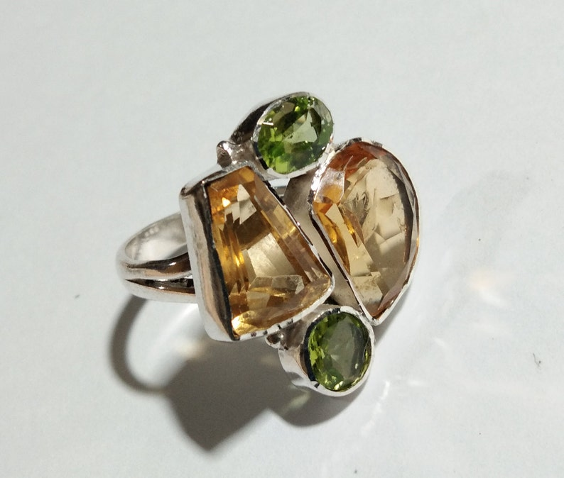 Citrine Faceted /& Peridot Faceted Rings For Girls Women. Natural Gemstone Handmade Jewelry 925 Sterling Silver Ring