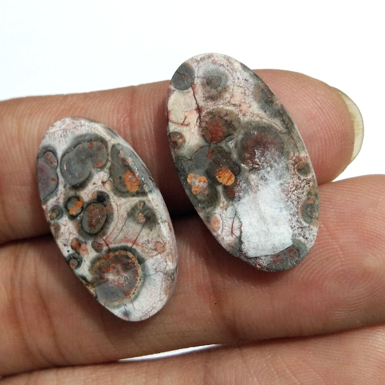 24.7 Cts Fine Quality Natural Crazy Lace Agate Cabochon Gemstone Oval Shape Size 14x26 mm Crazy Lace Agate 1 Pair Jewelry Making Gemstone
