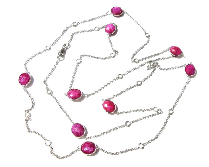 Handmade Bezel Necklace 40 Inches Length. Ruby Necklace in 925 Sterling Silver With Zircon Polky Necklace