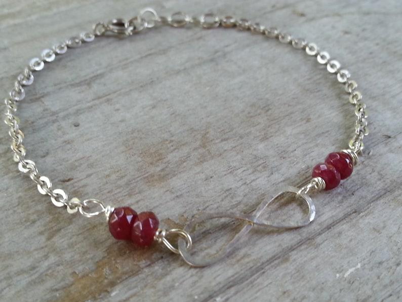 infinity bracelet.sterling silver delicate bracelet.natural ruby gemstone bracelet.handmade bracelet.infinity love for her.birthday gift.