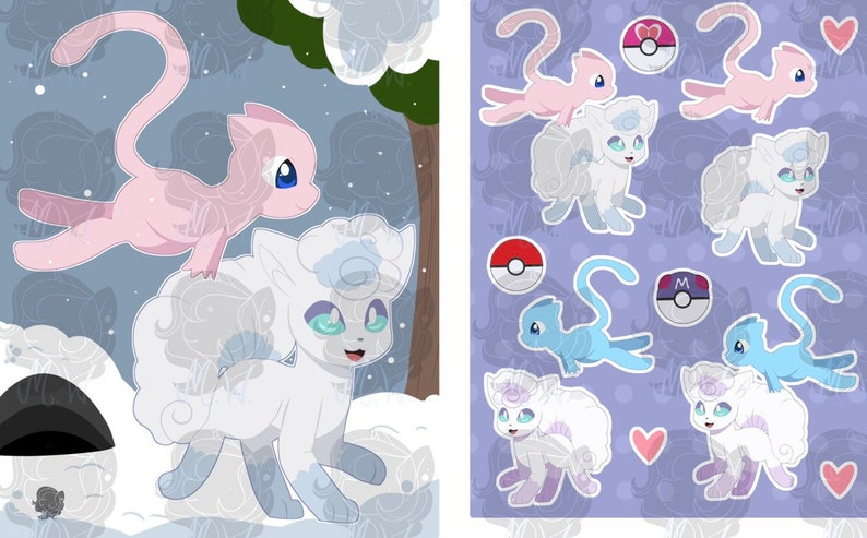 Alolan vulpix and mew print and stickers