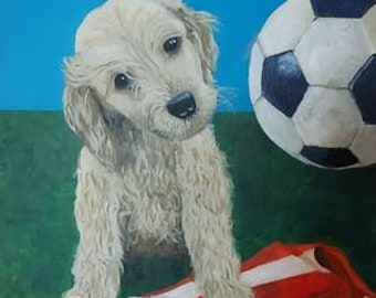 Painting: 'Puppy with Hatters Shirt and Football' acrylic on stretched canvas.