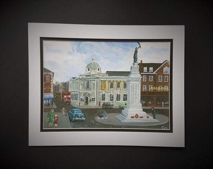 Carnegie Library, Luton  Art Print (with optional mount)