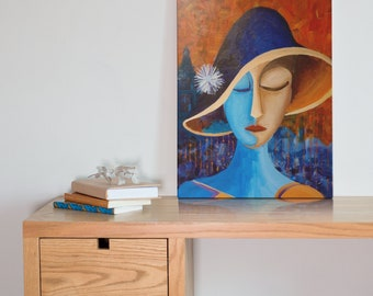 Joanna in Hat Outside W. Gurney & Sons - Original acrylic painting on canvas