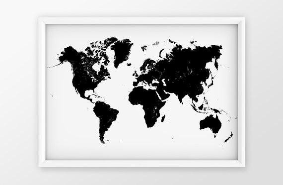 Modern World Map Canvas Print | Black and White Poster | Minimalist on modern china map poster, modern world map decal, modern germany poster, modern space map poster, modern world map print, modern travel poster, modern wall art, modern world map design, modern world map canvas, modern art poster,