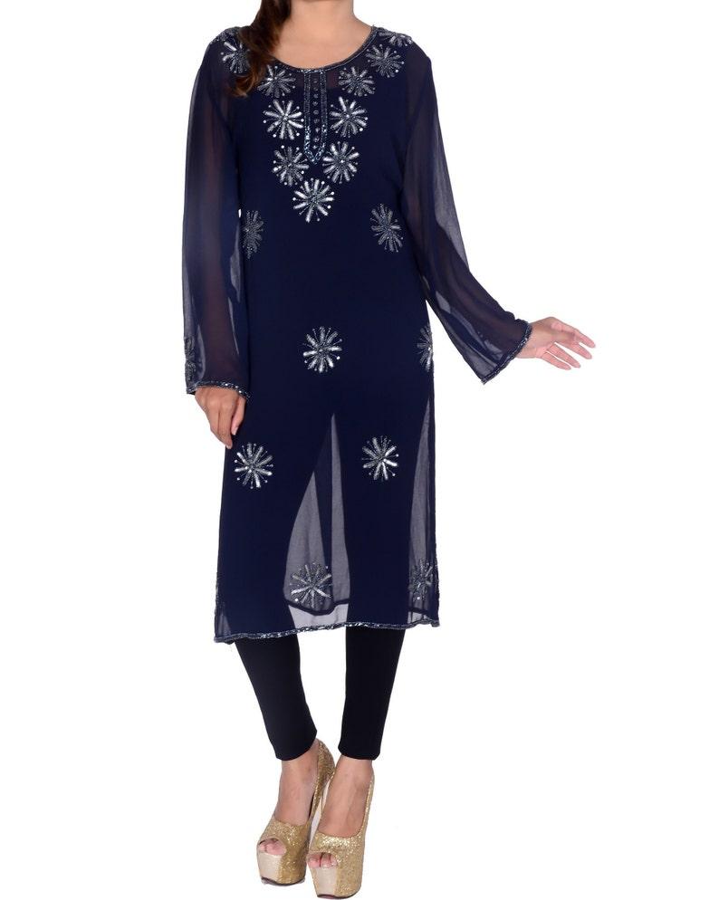 Indian Handmade beaded kurta Kurti Designer Blue Top Tunic