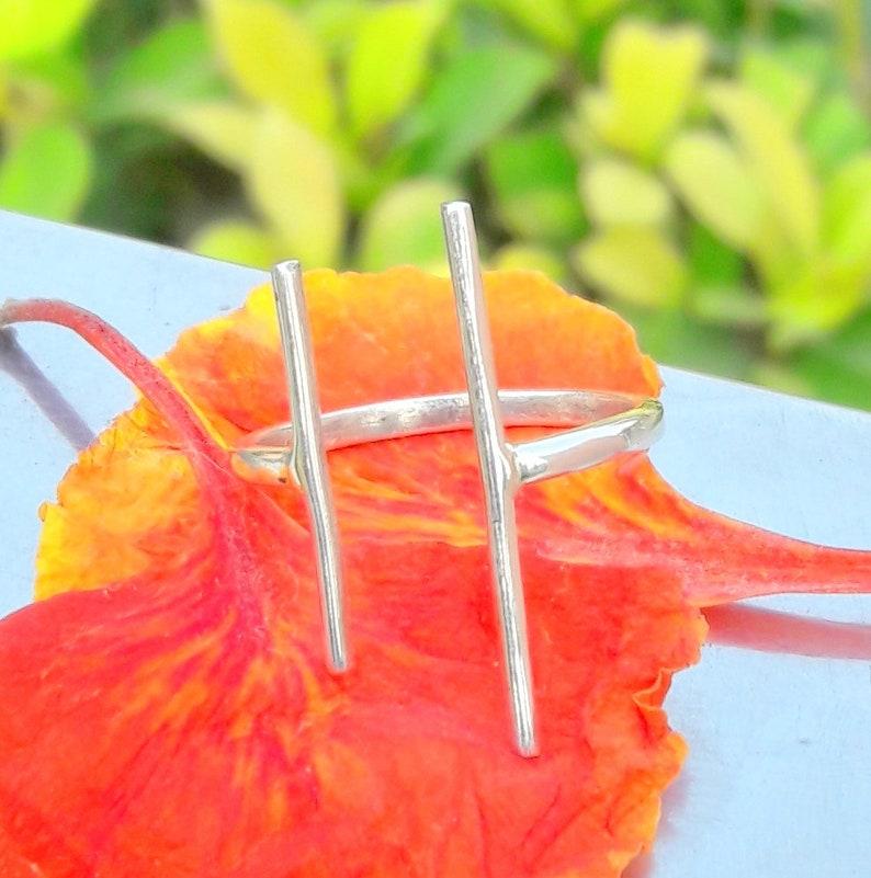 Parallel Bar Ring 92.5/% Sterling Silver Ring T Bar Ring Adjustable Ring Minimalist Bar Ring Handmade Ring