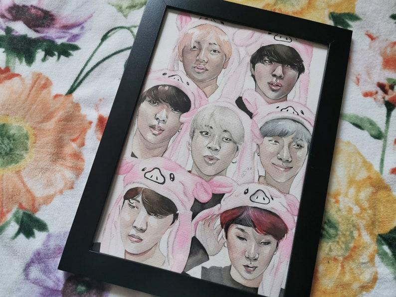 Original Aquarel Painting Drawing Kpop BTS Cute OT7 Jimin Taehyung Yoongi Jungkook Fanart