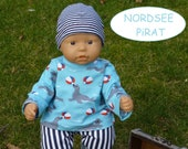 Doll clothes 36 cm e.g. for My first Annabell Boy 3pcsSet Shirt blue maritime seals doll pants striped beanie slimmed gr.35-40 cm