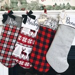 Farmhouse Christmas Stockings Personalized, Christmas Stockings Embroidered with Names, Personalized Stockings