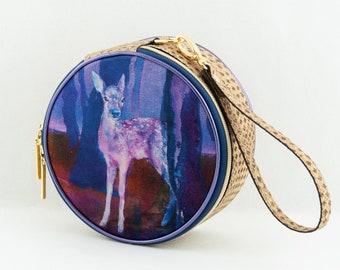 Art Cork Circle Bag, Bambi Painting Handbag, Handmade in Tuscany