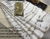 White 100 Pure Satin Silk Designer Saree Zig Zag Printed Girlish Sari With Golden Plain Unstitched Blouse Fabric Dress Material