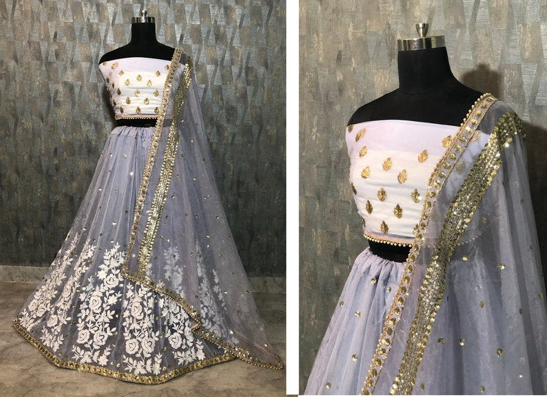 Clothing, Shoes & Accessories Women's Clothing Dupatta Blouse Choli Lehenga Pakistani Wedding Bridal Embroidery Lengha Dress