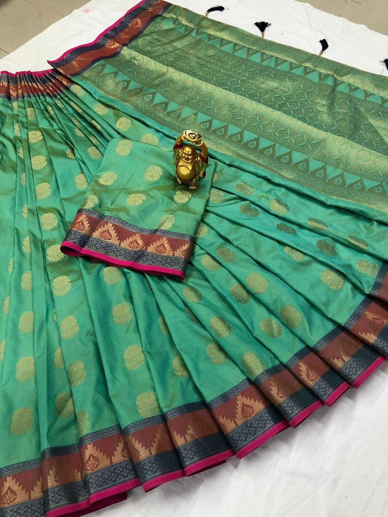 Heavy Pure Silk Saree Bridal Christmas Gift Occasional Wear Party Wedding Sari Wear with Running Blouse