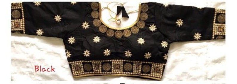 Free Shipping Readymade Black Party Wear Wedding Saree Stitched Black Blouse Crop Sari Top New Banglori Silk Embroidered Work For Women