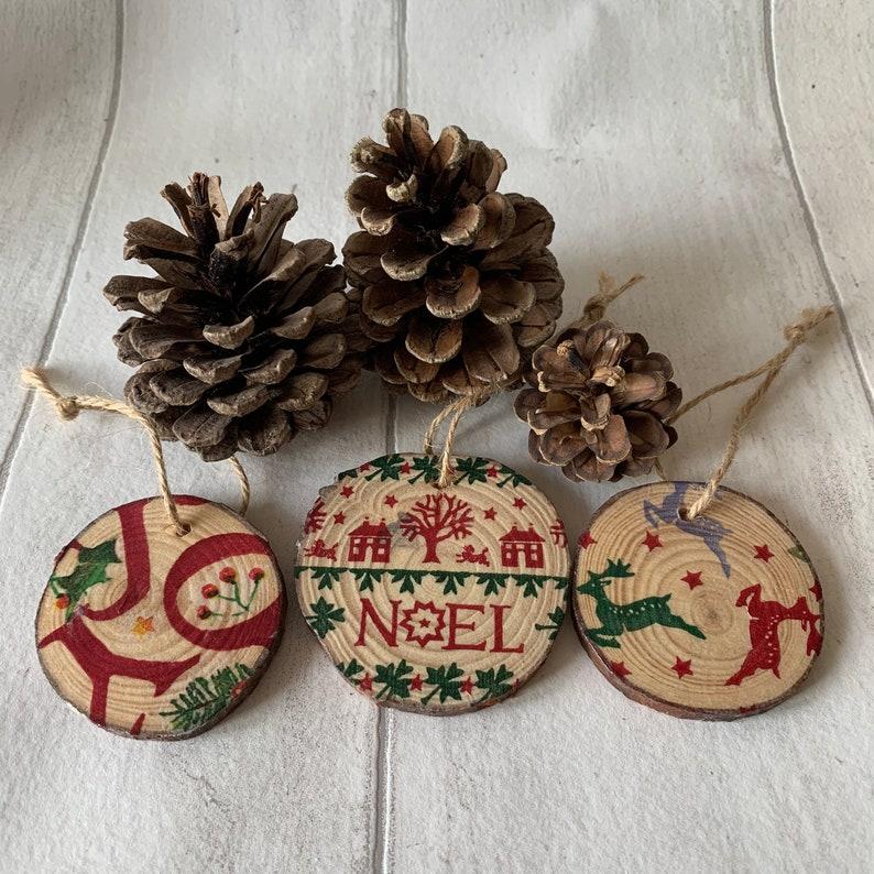 Tree Decoration EB Joy Wooden Log Slice Hanging Decoration Christmas Decoration