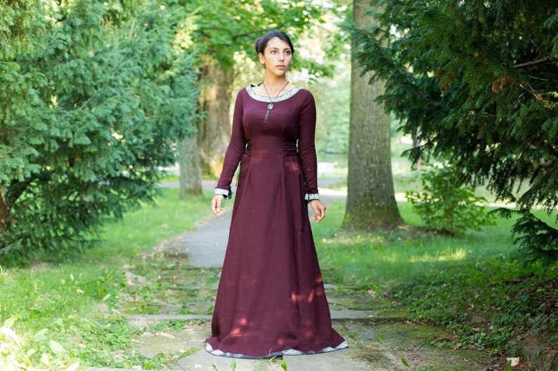 fd82c7d5afae Medieval linen dress with long sleeves in the style Boho. | Etsy