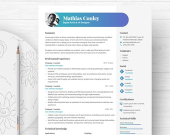 word resume template with photo graphic designer cv template etsy