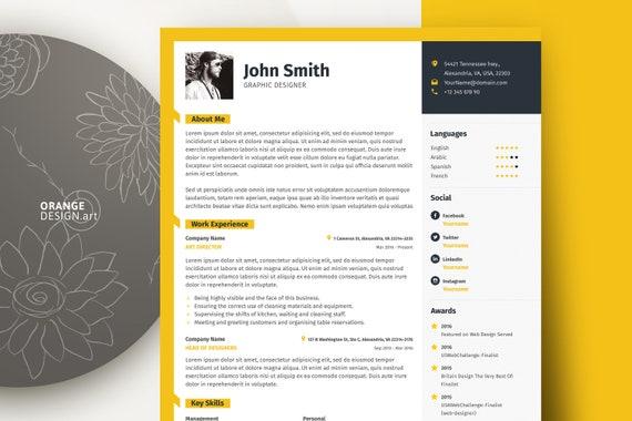 Word Resume Template with Photo / Graphic Designer CV Template, Lebenslauf  / Professional and Creative Resume Design