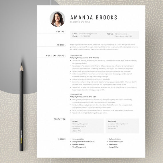 cv template with photo professional resume template word