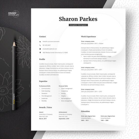 Designer Resume Template Word, Lebenslauf, Minimalist Resume, Creative  Resume, Graphic CV Template Instant Download, Curriculum Vitae