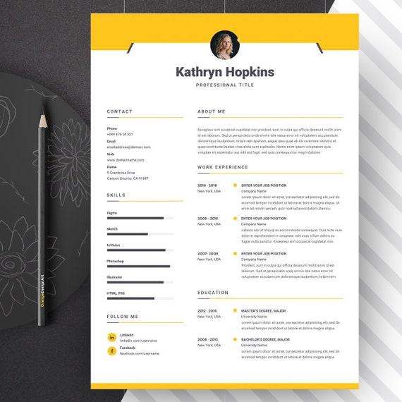 Resume Template With Photo Professional Cv Template Word Designer Resume Modern Cv Design Creative Resume Design 2 Page Resume