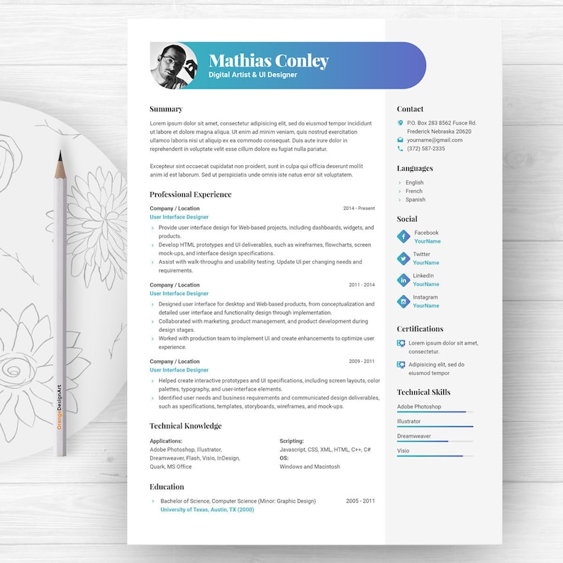 Graphic Resume Template With Photo CV Cover