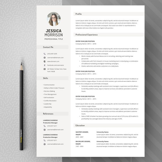 Simple Resume Template Clean Resume Design Two Page Resume With Photo Basic Resume Template For Word Two Page Resume