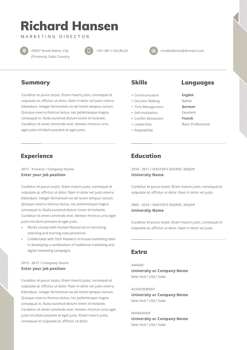 marketing director resume template with photo word resume