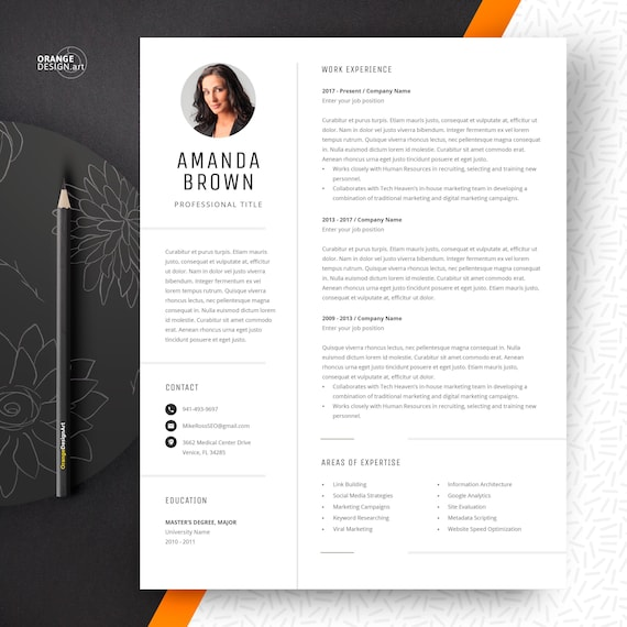 Project Manager Resume Template, CV Template with Photo, Curriculum vitae |  Instant Download, Word CV Design