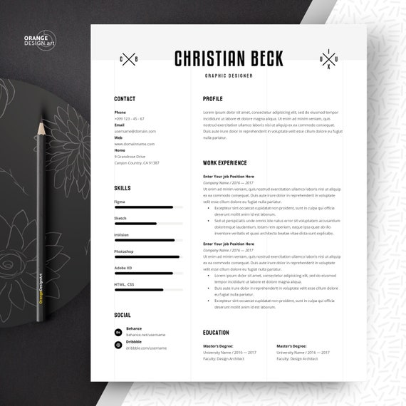 Graphic Designer Resume Template with Cover Letter, Lebenslauf, cv Template  Word, Instant Download Curriculum Vitae
