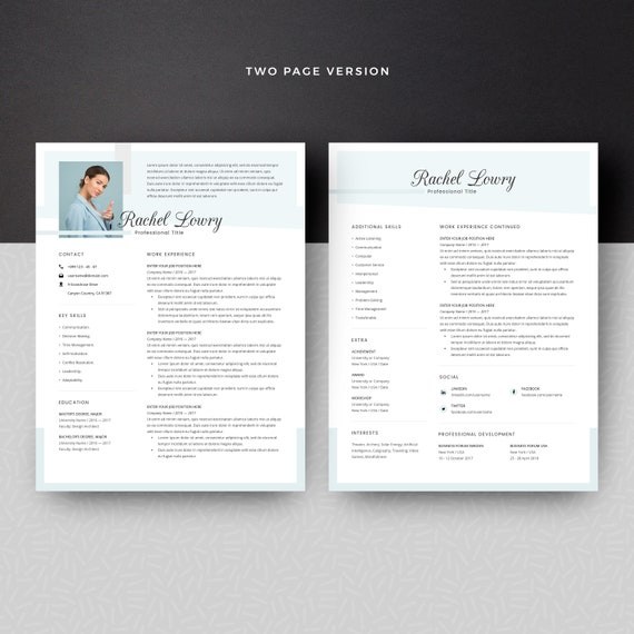 Fashion Resume Template With Photo Resume With Picture Makeup Artist Actor Creative Resume For Word One And Two Page Resume