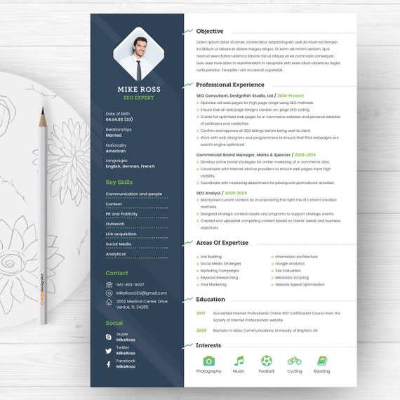 SEO Expert Resume Template with Photo | Professional and Creative CV  template | Cover Letter template | Word Resume