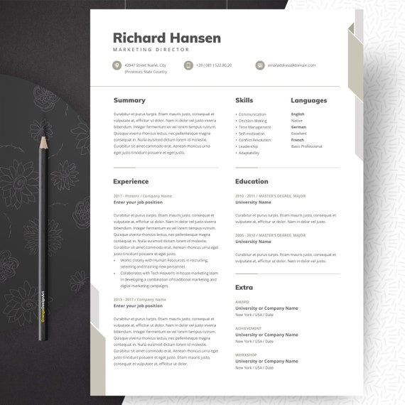 Marketing Resume Template Professional And Creative Cv Etsy