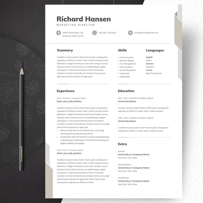 Marketing Resume Template Professional And Creative Cv