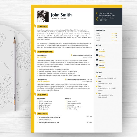 Word Resume Template with Photo / Graphic Designer CV Template | Etsy