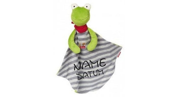 Rassel Kuscheltuch Geburt Taufe Baby Schmusetuch Frosch mit Namen bestickt